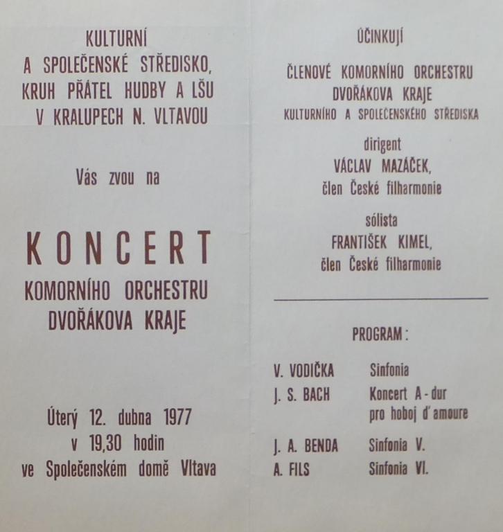 Program prvního koncertu